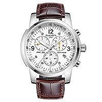GUANQIN メンズ アナログ表示スポーツ腕時計人気ブランド オートマチック自動巻き 機械式ウオッチ日付表示夜光防水ステンレスビジネス腕時計 (レザーホワイト)