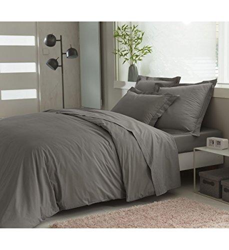 ELENA PARIS - Parure Housse de Couette 240x220 cm avec 2 taies d'oreillers 64x64 cm 100% Coton Percale 78 Fils - Couleur Gris