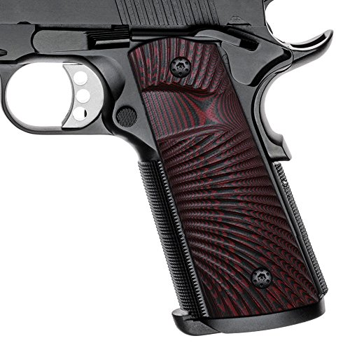 Cool Hand 1911 Full Size G10 Grips, Magwell Cut,Big Scoop, Ambi Safety Cut, Sunburst Texture, Brand, Red/Black