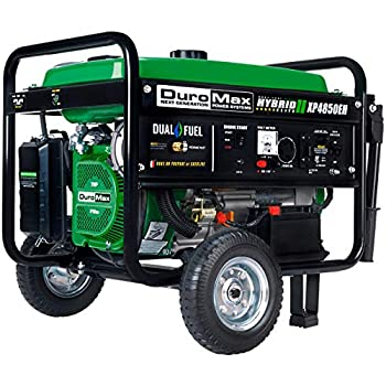 DuroMax XP4850EH Generator-4850 Watt Gas or Propane Powered-Electric Start-Camping & RV Ready 50 State Approved Dual Fuel Portable Generator Green