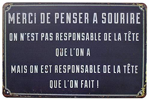 Hioni Merci de Penser à Sourire, Pancarte en Métal Panneau Poster Plaque Métallique Slogan Art Décor Vintage Pr Maison Café Pub