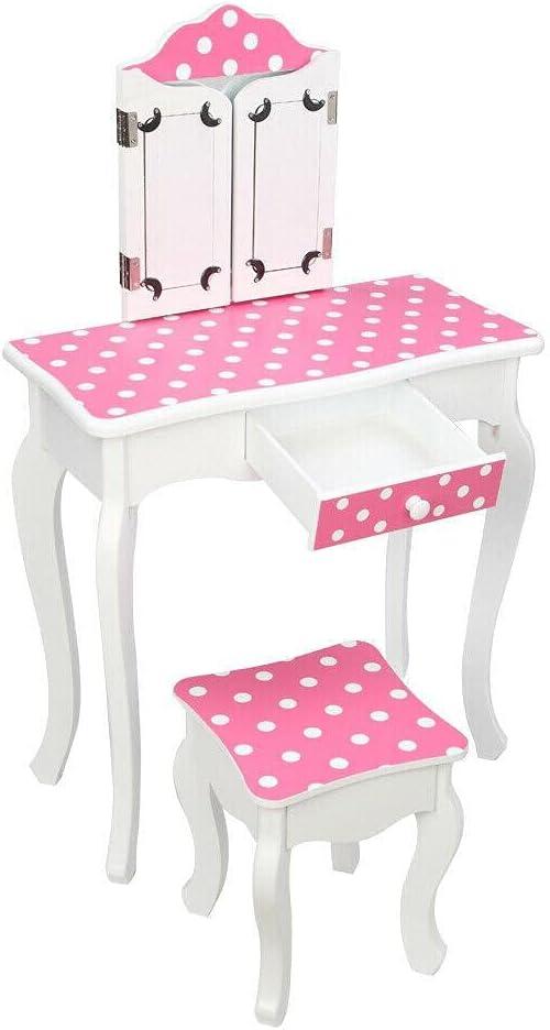 H Girls Kids Pink Vanity Set Surprise price Dressing Max 48% OFF Table Beauty Desk Make Up