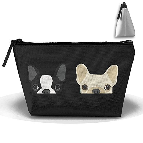 HTSS Boston Terrier And French Bulldog Friends Portable Makeup Receive Bag Storage Large Capacity Bags Hand Bag Travel Wash Bag For Travel With Hanging Zipper