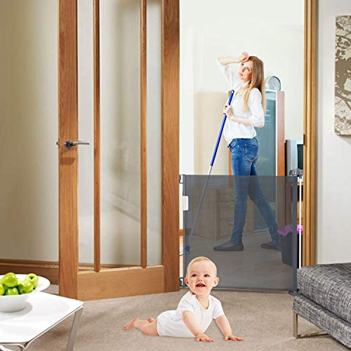 Babepai Retractable Baby Gate Door Grey, Extra Wide Baby Safety Gate and Pet Gate for Stairs, Doors, and More, Fabric Baby Gate Mesh Safety Gate 52