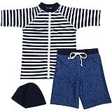 【Babystity】 男の子 水着 UPF50+ ボーダー柄 ラッシュガード 帽子 デニム柄 パンツ 80〜120cm(3点セット 120cm)