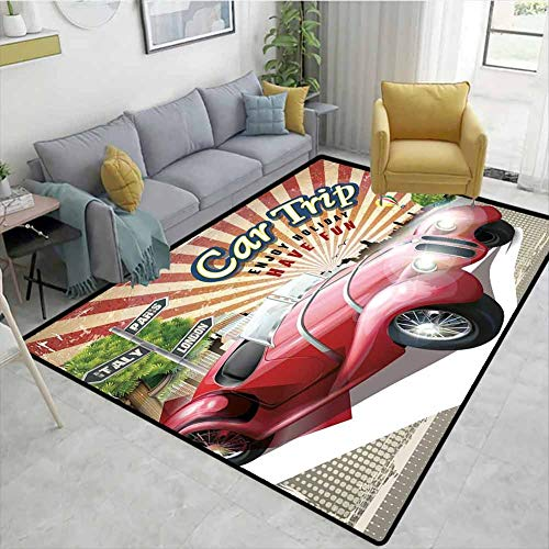 Sale!! Cars Humorous Area Rug Kitchen, Car Trip Theme Old Fashioned Automobile Enjoy Holiday Fun Ret...