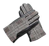 Guantes para Hombre Cálidos y Elegantes con Patrón Decorativo a base de cuadros y rayas en tonalidades grises y granates (Color:Negro) Material: 40% Polyester, 60% Algodón (Talla Única)