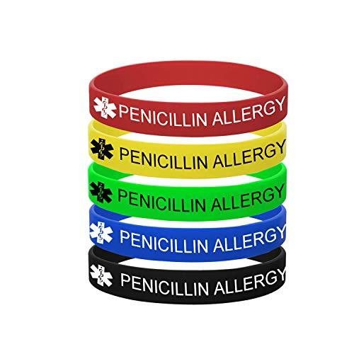 MZZJ 5 Pack-PENICILLIN Allergy Bracelet Medical Alert ID Jewelry Drug Allergy Bracelet,12MM Width 100% Silicone Rubber Safety ID Outdoor Sport Health Warning Bracelet Band for Boy Girl,7.48',Style 5