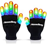 The Noodley Flashing LED Light Gloves Kids and Teen Sized with Extra Batteries Finger Toy Cosplay Halloween Costume Accessory Boys and Girls - Ages 8-12 (Medium, Black)