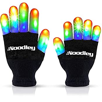 The Noodley Flashing LED Light Gloves Kids and Teen Sized with Extra Batteries Finger Toy Cosplay Halloween Costume Accessory Boys and Girls - Ages 8-12  Medium Black