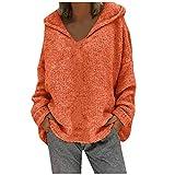 Janly Clearance Sale Tops para mujer, moda suelta de gran tamaño de color sólido capucha de manga larga, suéter de punto para Navidad (naranja-S)