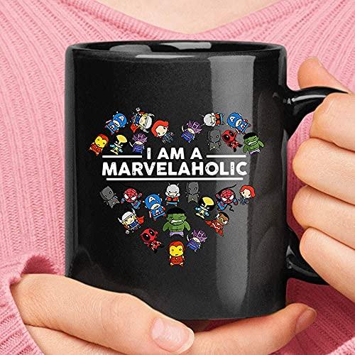 I 'm A MarvelAholic I Love Marvel Chibi Marvel Taza de café Negro