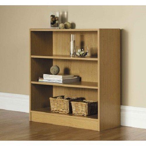 Orion Wide 3-Shelf Bookcase (Oak)