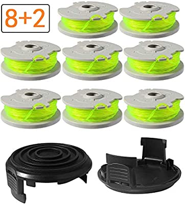 """WA0014 Trimmer Replacement Spools for Worx WA0014 Grass Trimmer ,Weed Eater String Edger Spool Line Refills Parts-WG168 WG184 WG190 WG191 Auto-Feed 20ft 0.080"""" with WA0037 Cap Covers 8 Pack"""
