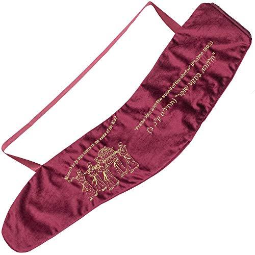 Jerusalem Yemenite Samttasche mit Stickerei, Motiv Ark of the Covenant, hebräisch, mit Tragegriff für Transport und Sicherheit, Reißverschlüsse, 84 cm, Burgunderrot