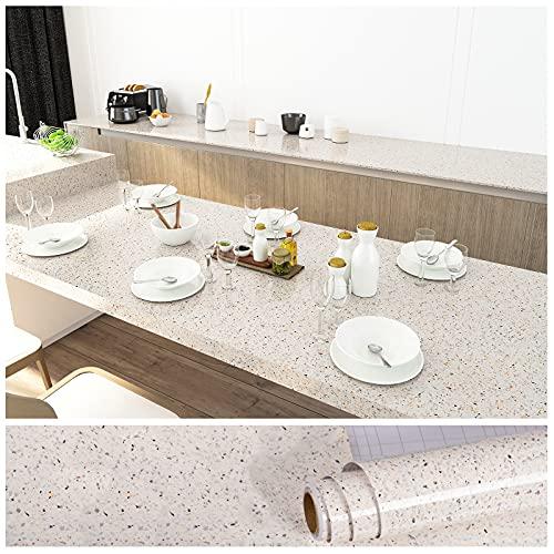 VEELIKE 15.7''x118'' Granite Contact Paper for Countertops Waterproof Self Adhesive Granite Wallpaper Peel and Stick Countertops for Kitchen Counter Bathroom Counter Removable Decorative Vinyl Film