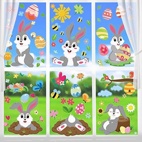 DIYASY Osterhasen-Fensteraufkleber, 8 Blatt, Frühlings-Fenster-Aufkleber für Oster-Dekoration, doppelseitiger Druck