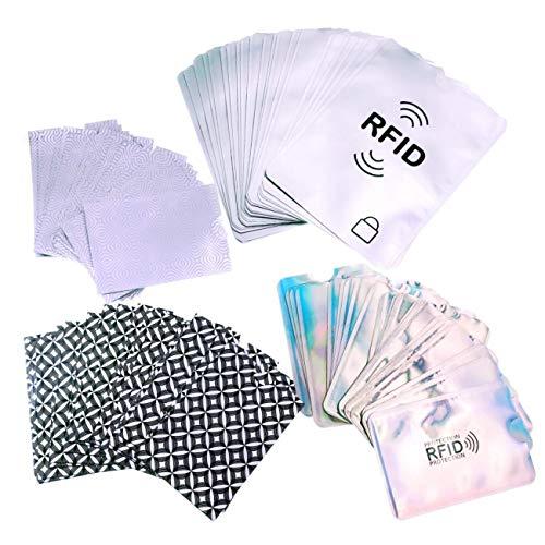 JZK 60 x RFID Protection Carte + 20 x RFID Manchons de Passeport, Etuis de Protection RFID RFID Pochette pour Carte Bancaire pour Carte de Crédit Carte de Débit Carte Bancaire