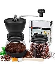 Manuell kaffekvarn, premium justerbar grovhet keramisk burr, med extra förvaringsburk och en rengöringsborste, bärbar handvevkvarn för resor eller camping