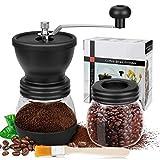 CHUER Manuelle Kaffeemühle - Keramikmahlwerk und Extra-Behälter mit Reinigungspinsel - Einstellbare Premium Espresso Handmühle für Feinsten, Frischgemahlenen Kaffee