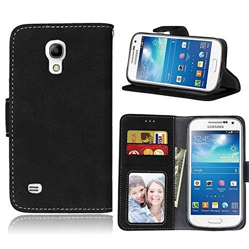 Sangrl Libro Funda para Samsung Galaxy S4 Mini / i9190, PU Cuero Cover Flip Soporte Case [Función de Soporte] [Tarjeta Ranuras] Cuero Sintética Wallet Flip Case Negro