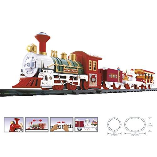 WEB2O - Tren eléctrico navideño con sonido y luz, con vagones animados,...