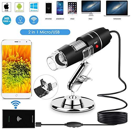 DigiHero WiFi USB Microscopio 1000x Digital Microscopio palmare WiFi Endoscopio 8 LED con 2 in 1 Micro USB Supporto per Smartphone Android, iPhone, Tablet, Windows