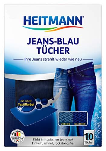 Heitmann Jeans Blau Tücher (10 Tücher, Blau) - Färbetücher für alte Jeans im neuen Look - Farberneuerung in Jeansblau direkt beim Waschen - Rückstandsfreie Pflege gegen Verblassungen