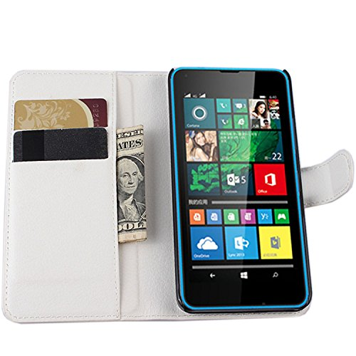 Ycloud Tasche für Microsoft Lumia 640 Dual-SIM Hülle, PU Ledertasche Flip Cover Wallet Hülle Handyhülle mit Stand Function Credit Card Slots Bookstyle Purse Design weiß