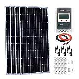 Giosolar Kit de panel solar monocristalino de 400 W 12 V con LCD MPPT 40A controlador de carga + cable rojo/negro + conector de ramas Y + soportes de montaje Zbrackets para RV Boat Off-Grid