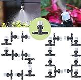50PCS Système Irrigation Jardin Kit d'Irrigation Goutte à Goutte Automatique Micro +Tee Joint de Tuyau, Buse Brumisateur D'eau Terrasse Jardin Planté Extérieur Mini d'Arrosage Dripper Alésoir Gicleur