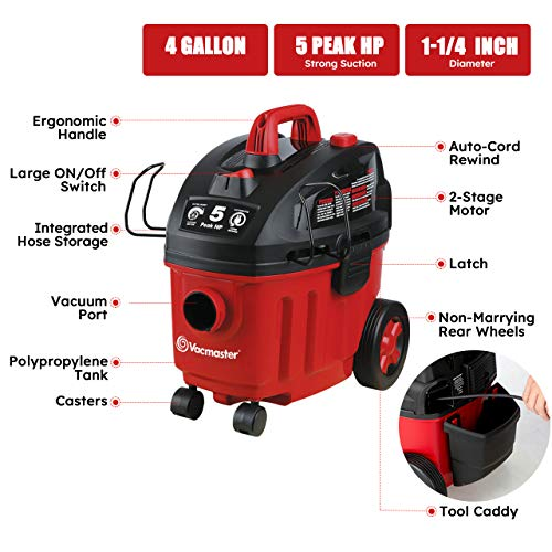 Vacmaster Shop Vac 5 Peak HP 4 Gallon Wet Dry Vacuum Cleaner with Hepa Filter 2-Stage Motor Auto Cord Rewind for Powerful Suction and Quiet Operation