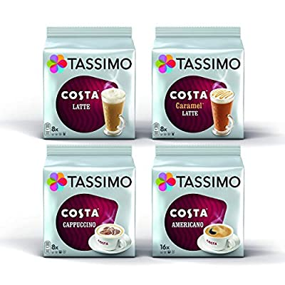 Tassimo 4 Packet Costa Coffee Mix Flavour T-Discs (Total 64 T-Discs / 40 Servings)