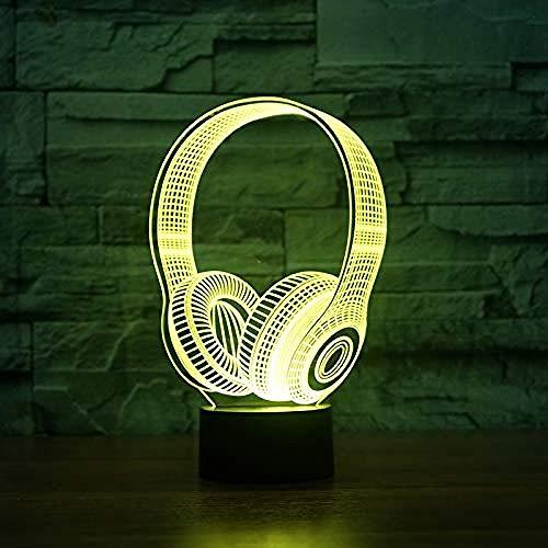 3D Illusion lamp Night Light DJ HeadphonesStudio Muziek Monitor Headset Coloful Hoofdtelefoon Tafellamp Slaapkamer Decor Slaap Verlichting Beste Geschenken Tafellamp Party USB 7 Kleuren (Afstandsbediening)