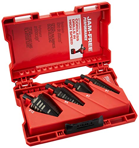 Step Drill Bit Set, Hss, 1/8-1-3/8 In, 4 Pc