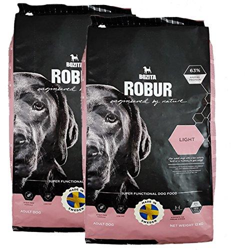 Bozita Robur Light Lot de 2 boîtes de nourriture pour chien sans blé et réduit la graisse pour chiens sensibles 12 kg