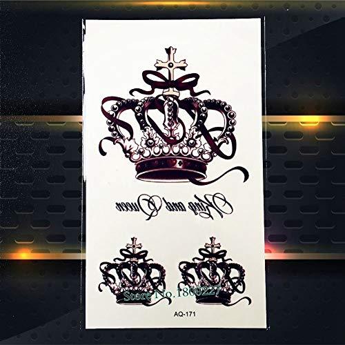 No logo H.Y.S.M 1PC Top-Qualität Königin-Krone temorary Tattoo-Aufkleber wasserdichte PAQ-171 Lady Crown Schwarz Farbe Muster Tattoos Paste Papier (Farbe : PAQ171)