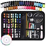 Sewing Kit, Coquimbo Portable Mini Sewing Kit for Beginner, Traveler and Emergency Clothing Fixes, DIY Sewing Supplies & Sewing Accessories with Black Carrying Case (Black, L)