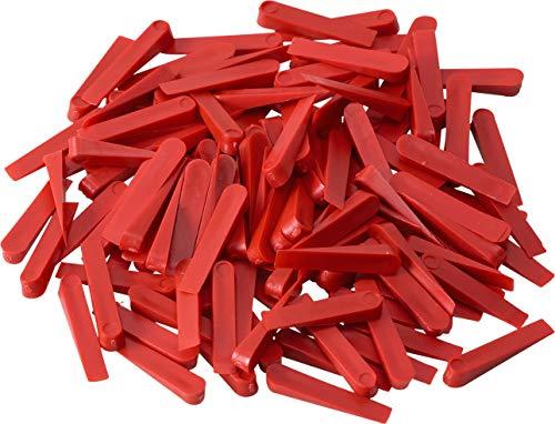 Meister Fliesenkeile 32 x 5 mm - Praktisches Set mit 250 Stück - Aus robustem Kunststoff - rot / Fliesenzubehör / Fliesenverlegehilfe / Fliesen-Abstandhalter / 4422500