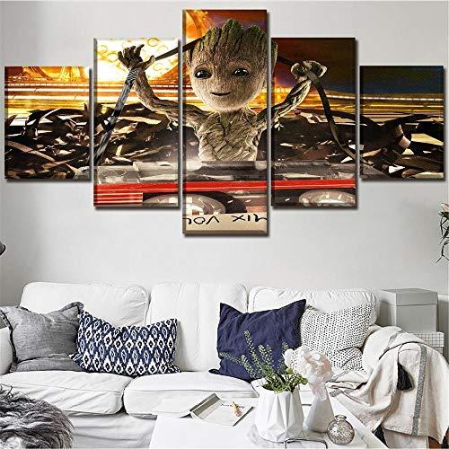 RuYun Modulare Bild Decor 5 P Baby Groot Malerei Movie Poster Wandkunst Home Decor 25x38cm-2p 25x50cm-2p 25x63cm-1p Kein Rahmen