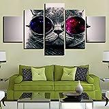 Lienzo Arte de la Pared Imágenes Decoración para el hogar Sala de Estar 5 Piezas Adorable Gato Animal con Gafas de Sol Pinturas Impresiones en HD Carteles