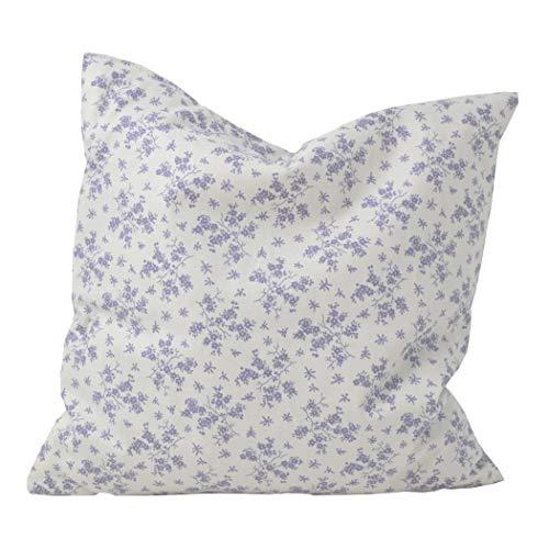 Cojín de lavanda de 30 x 30 cm, diseño floral morado sobre blanco, cojín decorativo