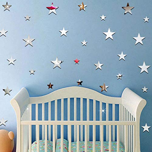 Star Shape Mirror Stickers 3D Acrylic Stars Mirrored Decals Diy Room Home Decoration Wallpaper Wall Sticker Hollow Star Stickers