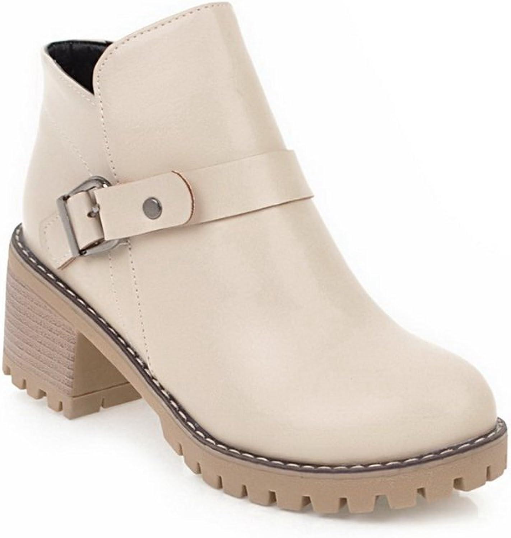 BalaMasa Womens Buckle Non-Marking No-Closure Urethane Boots ABL10540