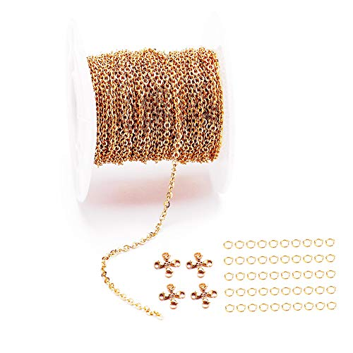 33 Feet 18K Gold Stainless Steel Flat Cross Chains Link Spool Bulk with 20 Lobster Clasps and 50 Jump Rings for Pendant Necklace Jewelry DIY Making (Chain Width 2.5mm+20pcs Clasps+50 Rings, Gold)