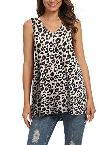 AUSELILY Camiseta de Manga Larga con Cuello en v para Mujer Túnica Tops Blusa Camisas. (EU 40-42,1-Leopardo)