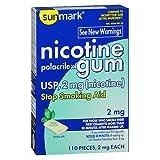 Sunmark Nicotine Polacrilex Gum 2 mg Mint Flavor - 110 ct, Pack of 4