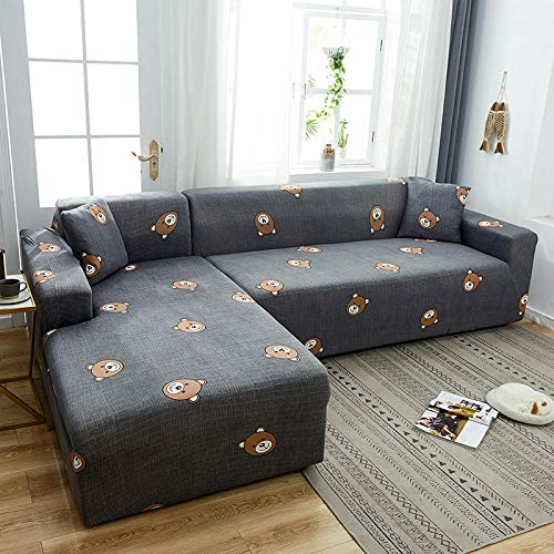 Fsogasilttlv Protector de Sofá Antideslizante 2 plazas y 3 plazas, Fundas elásticas de Licra, Funda de sofá, Toalla elástica para sofá, Fundas de sofá de Esquina para el Oso de la Sala de Estar