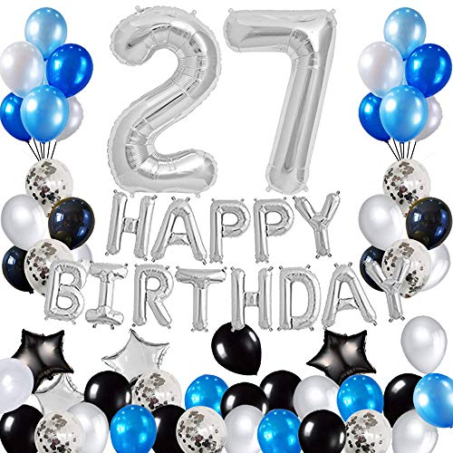 Risehy 27th Birthday Decorations Birthday Party Supplies Set- Foil Happy Birthday Banner Foil Balloons Number 27 and Star Shape Balloons 47 pcs Latex Balloons Silvery and Blue