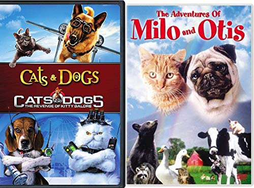 Feline + Canine Kitten and Puppy Dog Milo & Otis + Cats & Dogs + The Revenge of Kitty Galore Triple Feature DVD bundle